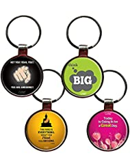 Combo For Positivity Set Of 4 Quote Metal Key Chains By QuoteSutra