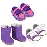 18 Inch Doll Shoes Pack. Fits American Girl Dolls. 3 Fun Pairs Of Purple Doll Shoes