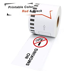MarkDomain Compatible Label Roll Replacement for Brother DK-2251 Continuous Black/Red Label on White Papers 2.4in x 50ft with One Refillable Cartridge for QL-800, QL-810W, QL-820NWB Printer (6 Rolls)