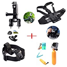 AFAITH® Mounting kit for GoPro Includes Chest Mount Harness + Handlebar Seatpost Mount + Head Strap Camera Mount + Bobber Floating Hand Grip, Compatible With GoPro Hero4, HERO3+, Hero3, HERO2 Black, Silver, White, Outdoor Edition
