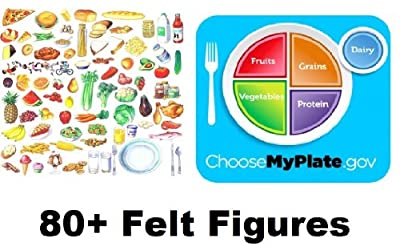 Myplate Food Group 80 Felt Figures for Flannel Board Precut +Lesson Nutrition Med Size