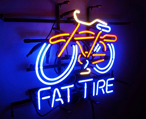 New Fat Tire Real Glass Neon Light Sign Home Bedroom Beer Bar Pub Recreation Room Game Room Windows Bicycle Garage Wall Sign (Fat Tire) (Fat Tire Beer Sign compare prices)