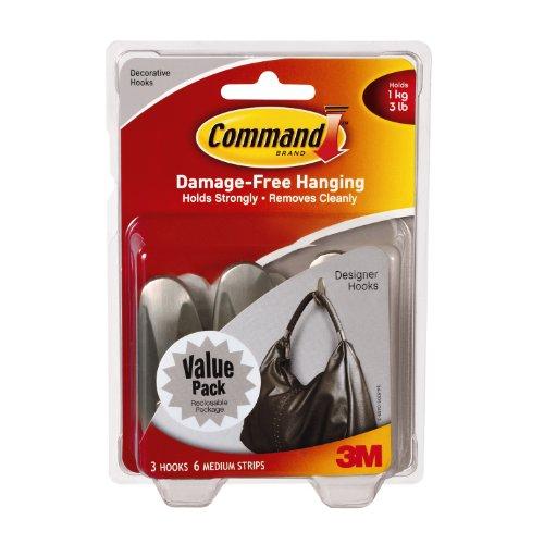 Command Medium Designer Hooks, Brushed Nickel, 3-Hook