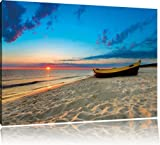 Sunrise Boat Beach Sun Sand Waves USA on canvas 39.37X27.55 inches, XXL Pictures completely framed with large wedge frames. Art print on wall picture with frame. Cheaper than painting or an oil painting, not a poster or placard
