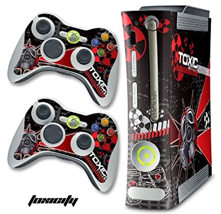New XBOX 360 Console Protective Decal Skin - Toxicity - Red