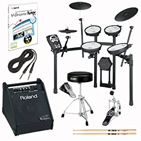 Roland TD-11KV-S V-Drums Electronic Drum Kit Bundle with PM-10, DT-1