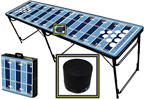 8-Foot Professional Beer Pong Table W/ Holes & Wireless Bluetooth Speaker - Tennessee Football Field Graphic