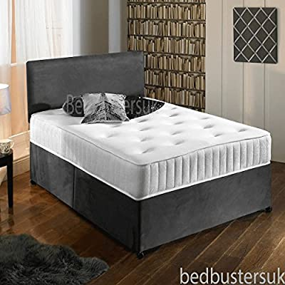 New Charcoal Grey Luxury Suede Divan Bed Set With Orthopaedic Tufted Mattress With 2 Free Drawers & FREE Headboard