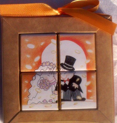 Chocolate Puzzle Wedding Favors - Confetti Couple