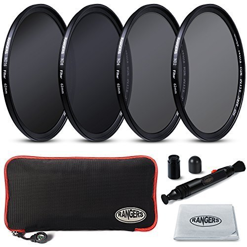 2mm Ultrathin, Rangers 62mm Full ND2, ND4, ND8, ND16 Neutral Density Filters and Carrying Case + Lens Cleaning Cloth + Lens Cleaning Pen, without vignetting (Nd Filter 62mm compare prices)