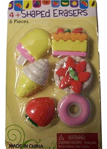 Set of 6 Sweet Treat Puzzle Erasers ~ Popsicle, Cake, Pie, Ice Cream Cone, Strawberry and Donut (Ice Cream Cone Erasers compare prices)