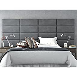 Vant Upholstered Wall Panels (Headboards) Sets of 4 - Micro Suede Gray - 30 Inch - Full-Queen.