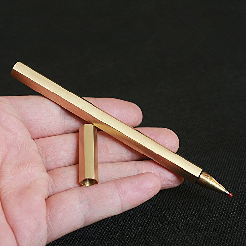 Cevinee™ Special Anti-roll Handmade Brass Pen, Solid Portable EDC Pocket Pen, Unique Polished Metal Sign Signature Pen Gel Pen, Christmas Gift Pen