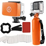 GoPro Accessory Bundle by CamKix including 1 Bobber plus Thumbscrew / 1 Removable Floaty for Housing Backdoor with Waterproof Velcro and Adhesive / 1 Set of 20 x Anti-Fog Inserts / 1 Thumbscrew Opening Tool / 1 Microfiber Cleaning Cloth / 1 Wrist Strap (Orange)