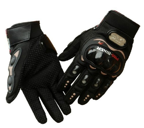 TCBunny® Carbon Fiber Pro-Biker Bicycle Motorcycle Motorbike Powersports Racing Gloves (L, Black)