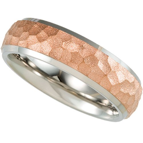 Titanium, Rose Immersion Plated Hammered Wedding Band (sz 11.5)