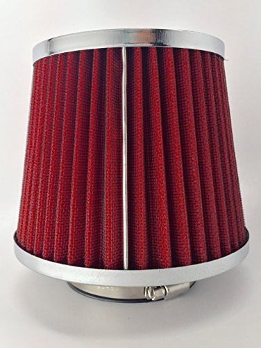 JJMG 3-Inch Oil Free Inlet Cone Dry Flow Air Filter (Red) (Cone Air Filter 3 compare prices)