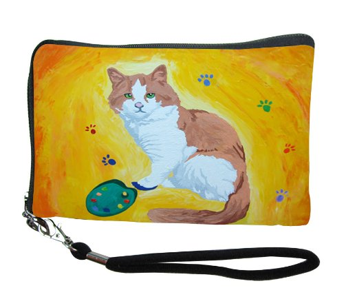 Cat Small Zip Around Wristlet - Wearable Art - Yes, Salvador Really Does Paint! (Paw in the Paint - Cat)