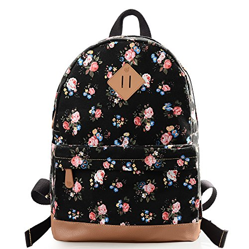 DGY Women's Canvas Backpack School Bag Fashion Book Bags Travel Backpacks for Girls G00133 (Black A)
