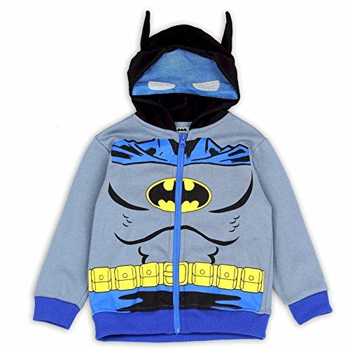 Batman Toddler Boy's Grey Batman Suit Masked Hoodie