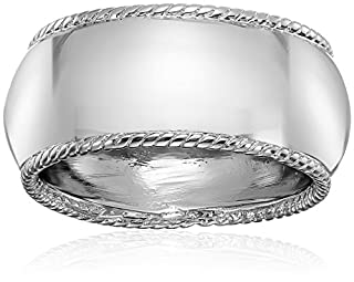 Rhodium Plated Sterling Silver 9mm Twisted Cable Edge Band Ring, Size 7