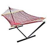 Sunnydaze Red Caribbean XL Rope Hammock with Spreader Bars and Stand Combo, 130 Inch Long x 55 Inch Wide