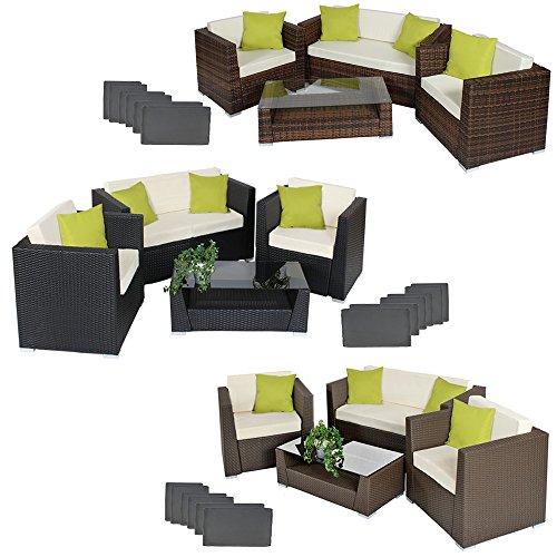 TecTake-Hochwertige-Alu-Luxus-Lounge-Set-Poly-Rattan-Sitzgruppe-Gartenmbel-mit-2-Bezugsets-4-extra-Kissen-mit-Edelstahlschrauben-diverse-Farben-Mixed-Braun