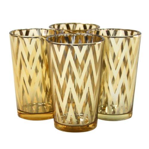 Koyal Wholesale Chevron Votive Cup, 4-Inch, Gold, 4-Pack front-1033303