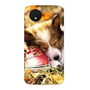 Delighted Cute Sleeping Puppy Back Case Cover for Micromax Canvas A1