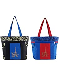 Diyaras Heavy Matty Navy Blue- Black & Blue-Red Women's Shoulder Or Shopping Bag. (Pack Of 2)