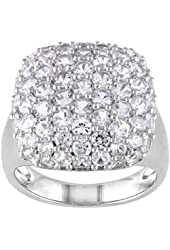Created White Sapphire Fashion Ring in Sterling Silver