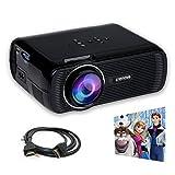 Crenova XPE460 LED Upgraded Projector 1200 Lumens 800*480 Resolution Home Cinema Support PC Laptop USB TV Box iPad Smartphone-Black