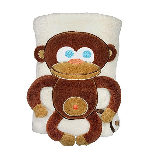 Sozo Baby-Boys Newborn Monkey Snuggle Blanket, Tan/Brown, One Size