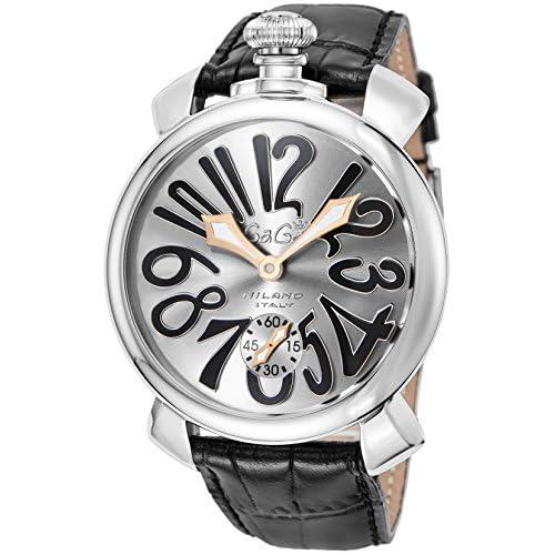 [ガガミラノ]GaGa MILANO 腕時計 マニュアーレ48MM シルバー文字盤 手巻き 5010.07S-BLK メンズ 【並行輸入品】