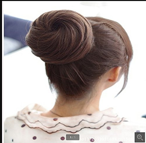 Orino Beauty™ Women Ladies Deep Brown Short Curly Wavy Clips In Bun Tray/ Ponytail/ Extension Hair Piece Wig(Obw-#050)