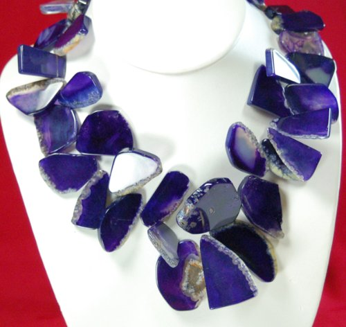 Purple Agate Nugget Silver Necklace 18