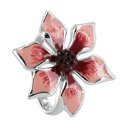 Sterling Silver Pink and Red Enamel 24mm Flower with Garnet Cubic Zirconia 2mm Band Ring
