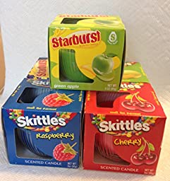 Skittles and Starburst Scented Glass Jar Candle Set - 5 Total
