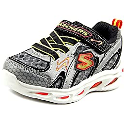 Skechers Infant/Toddler Boys\' S Lights Ipox Rayz,Silver/Red,US 5 M