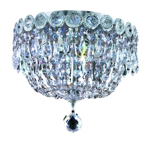 Elegant Lighting 1900F10C/RC Century 9-Inch High 3-Light Chandelier, Chrome Finish with Crystal (Clear) Royal Cut RC Crystal