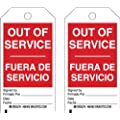 """Brady  86579 7"""" Height x 4"""" Width, Economy Polyester (B-851), Black/Red on White Accident Prevention Tags (10 Tags)"""