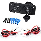 Alwayswish DC Voltmeter Digital And Dual USB Splitter Charger Power Adapter Outlet With Cable For 12V-24V Motorbike...