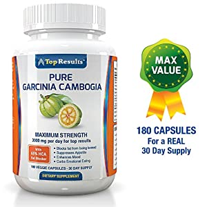 Pure Garcinia Cambogia Extract - 180 Pills For A Real 30 Day Supply Potent Fat Burner And Appetite Suppressant With Potassium And Calcium To Aid Absorption Not 1000mg 1300 Or 1500mg Per Day - But 3000mg For Ultra Effective Natural Weight Loss Dosage As Re