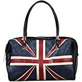 Omine Women's fashion Union Jack British style flag women leather handbag bags