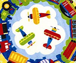 3X3 Round Rug Trains Planes Trucks Kids School Educational Play Size 39\