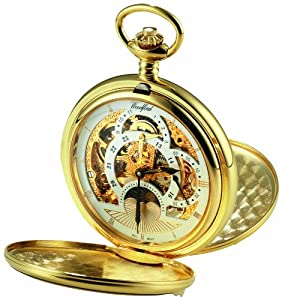 Woodford Skeleton Pocket Watch, 1051, Men's Gold-Plated Twin-Lidded Two Time Zone Moon-Phase with Chain (Suitable for Engraving)