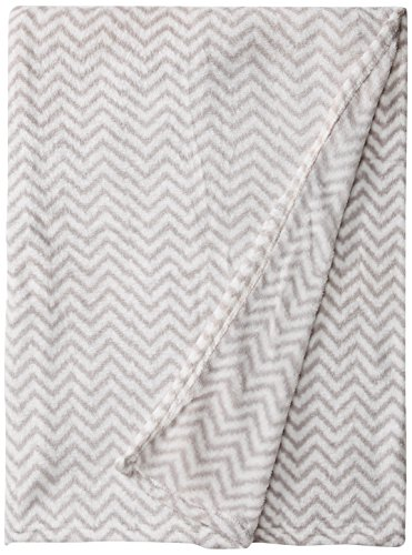 "Bacati Ikat Zigzag Chevron Plush Throw, Grey, 50"" x 60"""