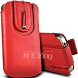 N E Fing Red PU leather magnet button Pull Tab Case and Mini Stylus for LG Optimus One P500(s)