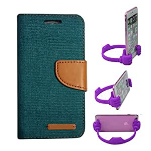 Aart Fancy Wallet Dairy Jeans Flip Case Cover for MeizumM2 (Green) + Flexible Portable Mount Cradle Thumb OK Designed Stand Holder By Aart Store.
