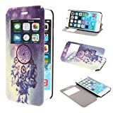 TUTUWEN View Window Painting Art Dream Catcher Style Design PU Leather Flip Stand Case Cover for Apple iPhone 6 47 inch iPhone Air